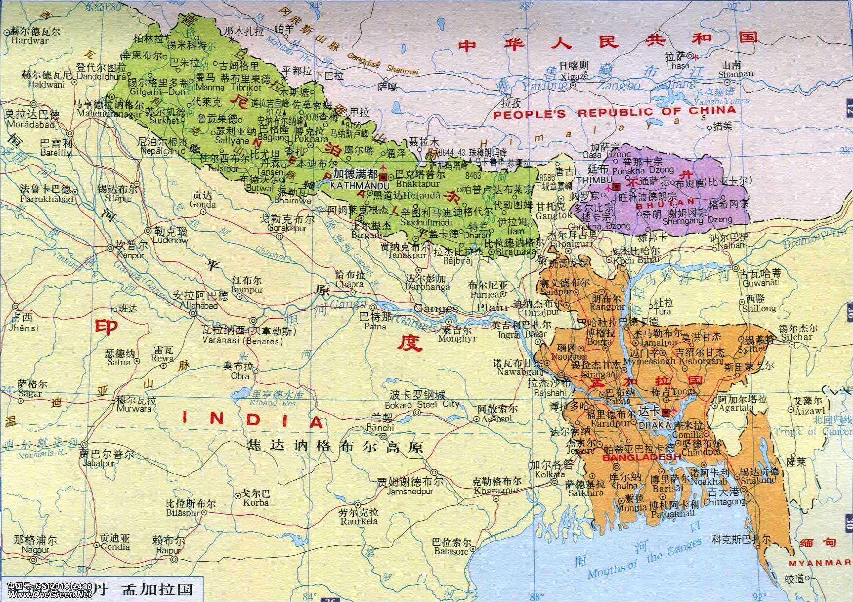 尼泊尔地图_尼泊尔地图中文版_尼泊尔地图库_地图窝