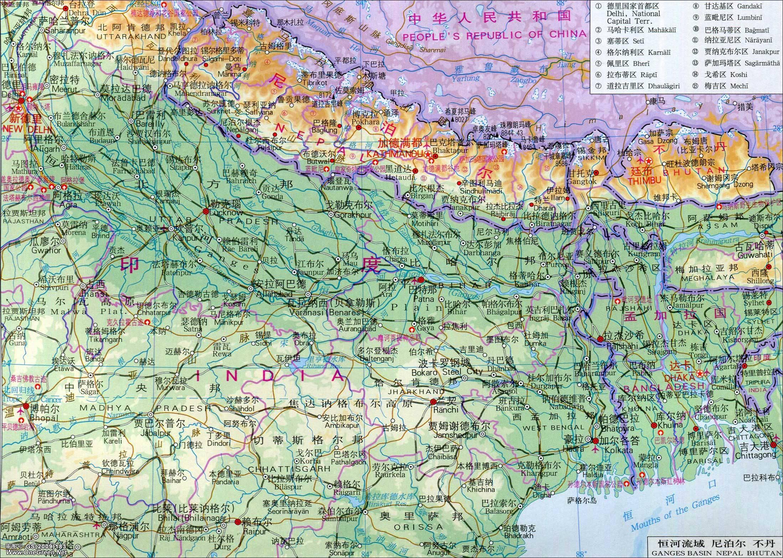 尼泊尔地图_尼泊尔高清地形图_尼泊尔地图库_地图窝