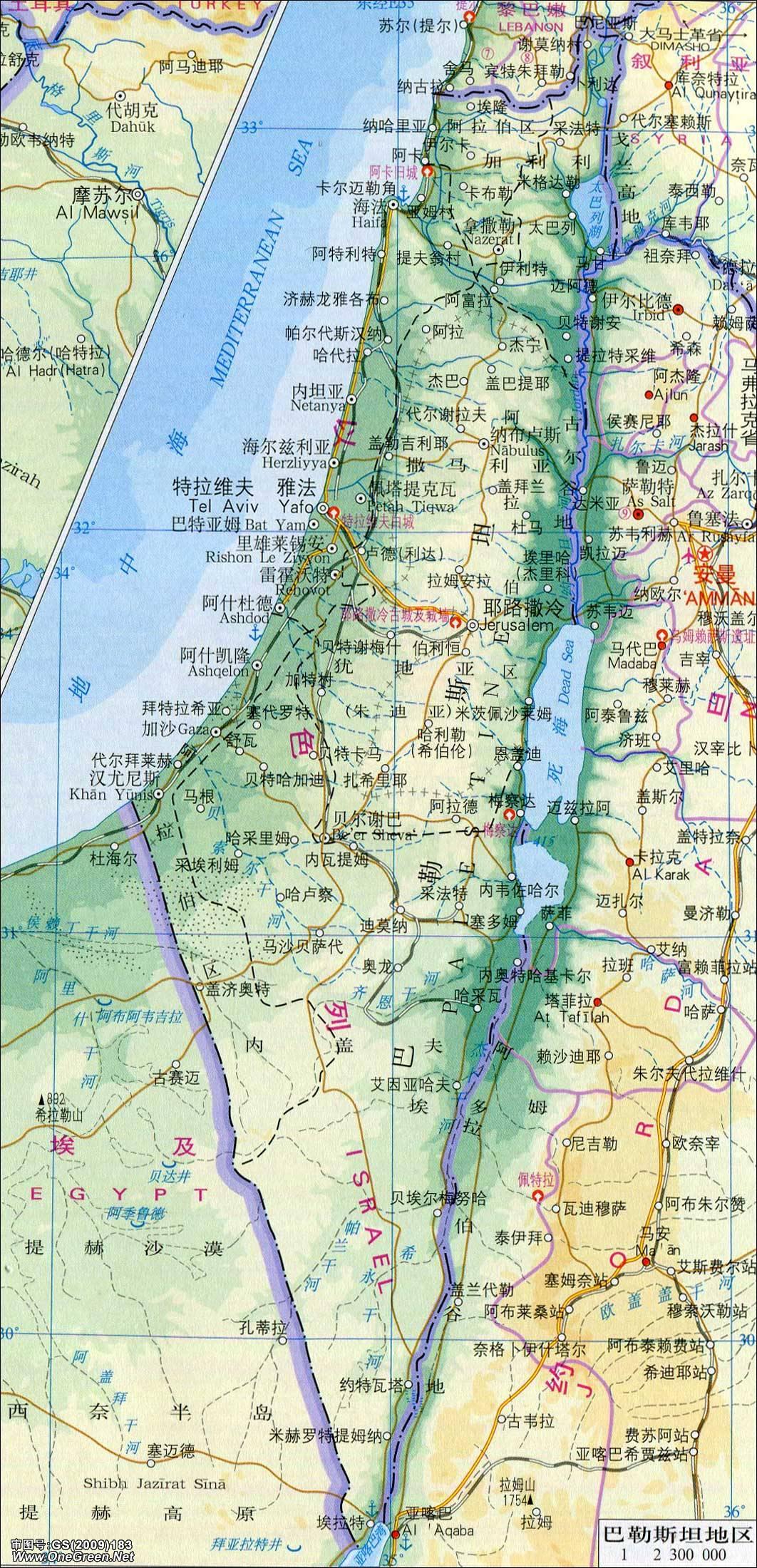 中东地图_中东地图_巴勒斯坦地区地图_亚洲地图库_地图窝