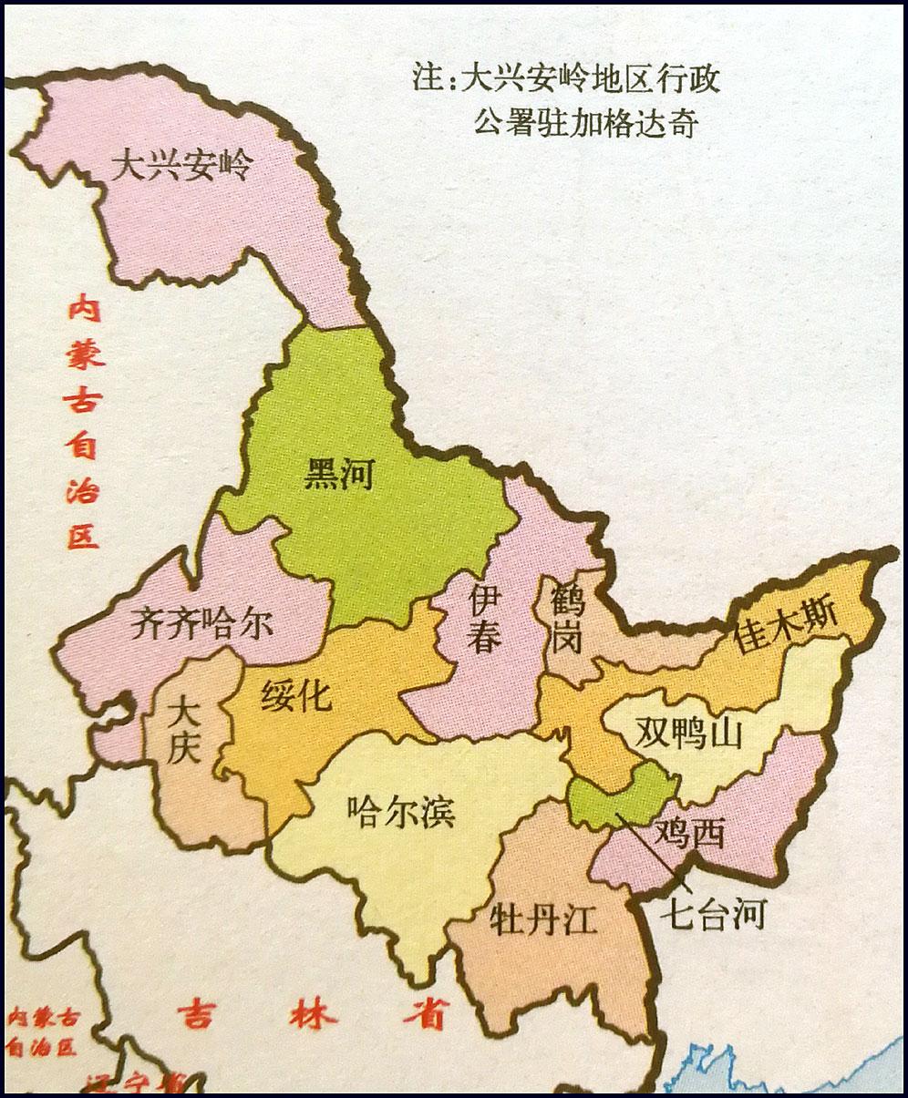 黑龙江地图简图