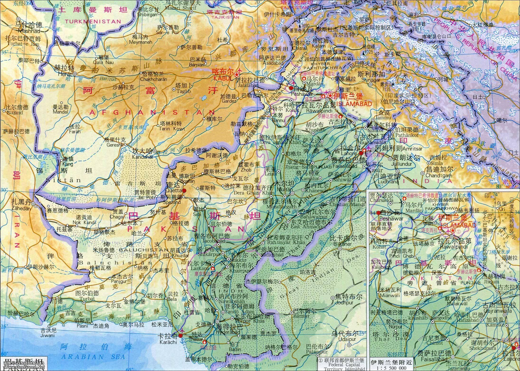 巴基斯坦地图(地形版)_巴基斯坦地图库_地图窝图片