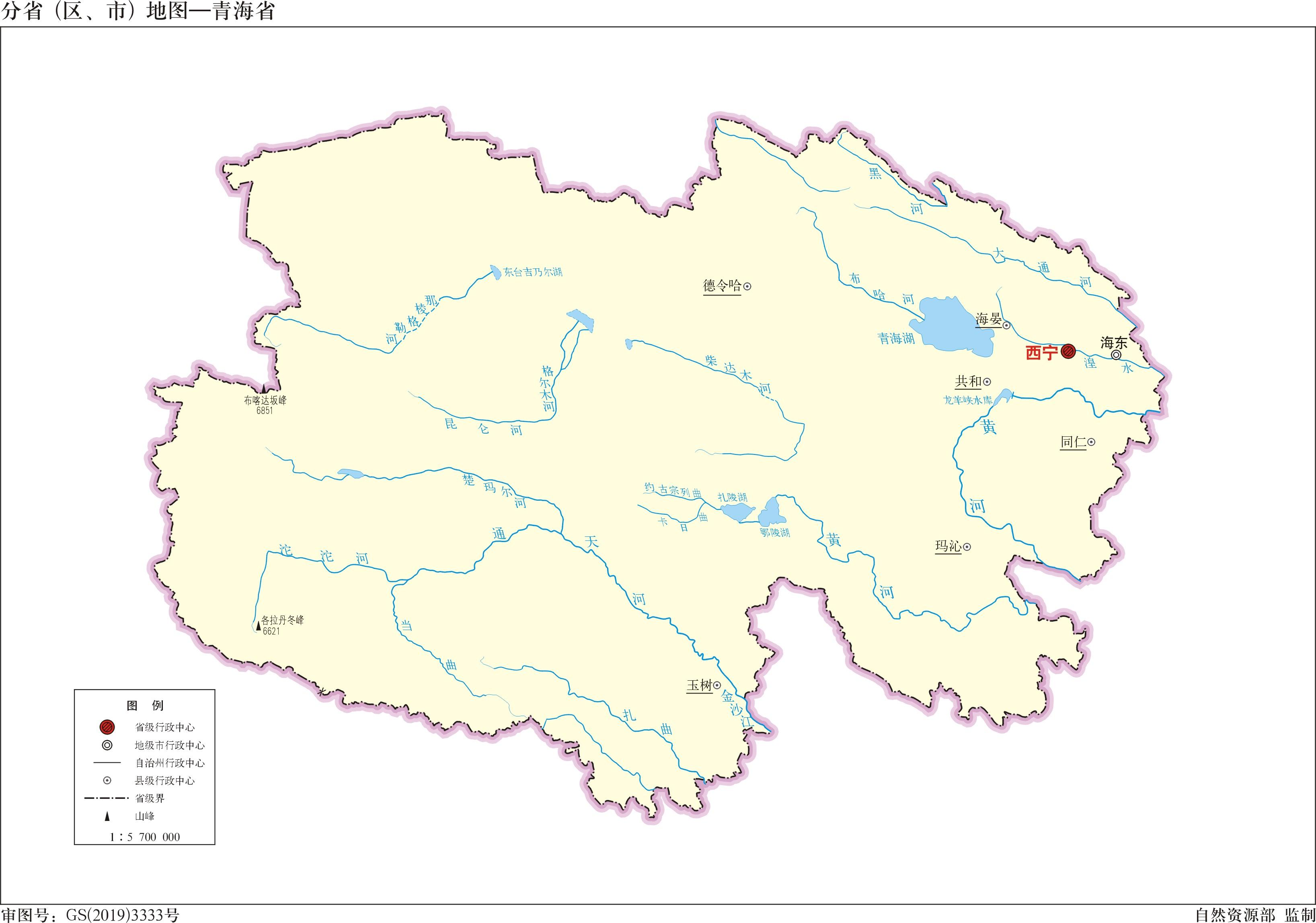 浙江省旅游景点地图_青海省标准地图(边界版)_青海地图库_地图窝