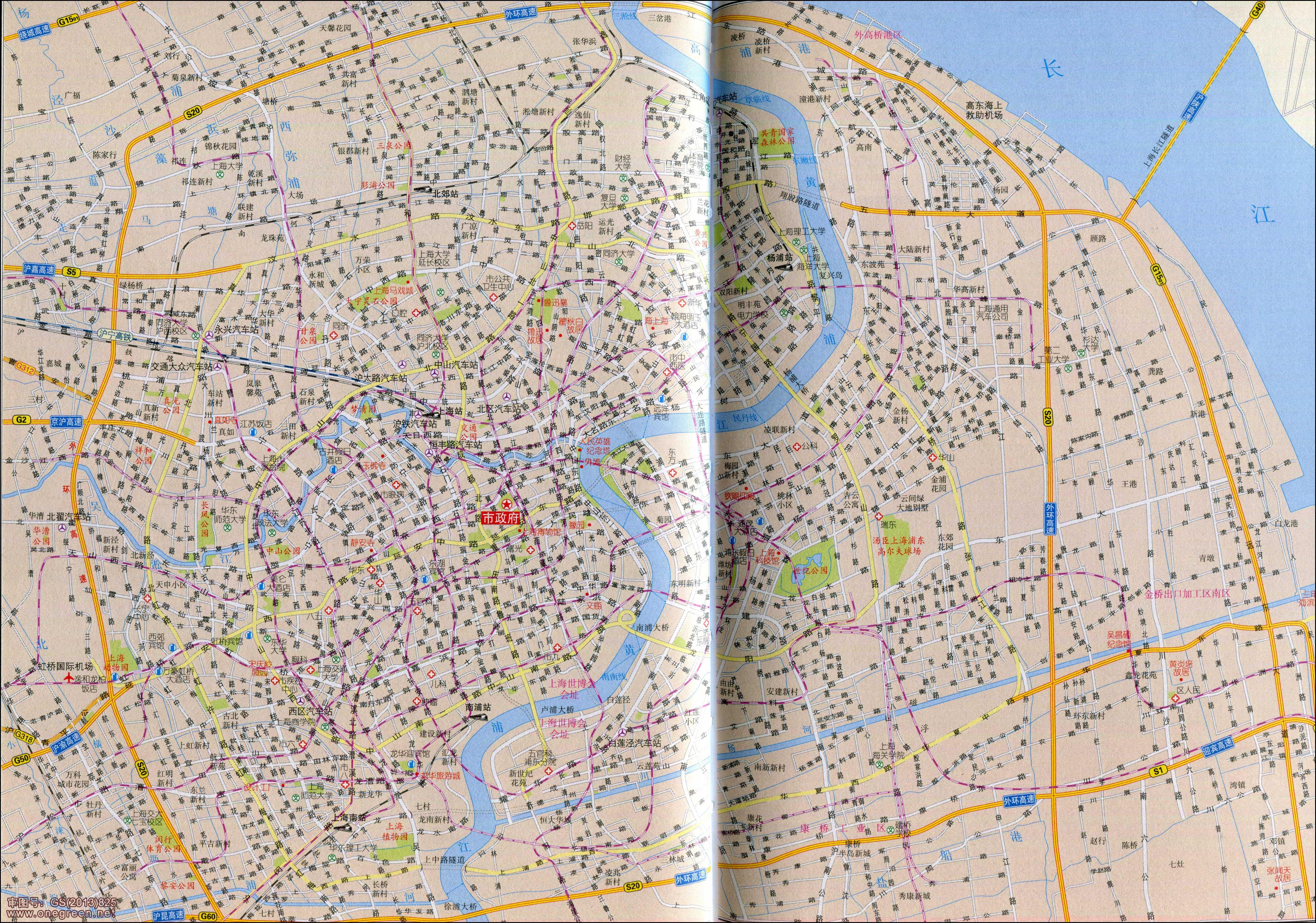 上海卫星地图 高清上海市区地图