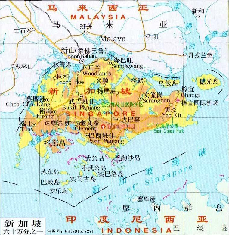 新加坡地图_新加坡地图中文版