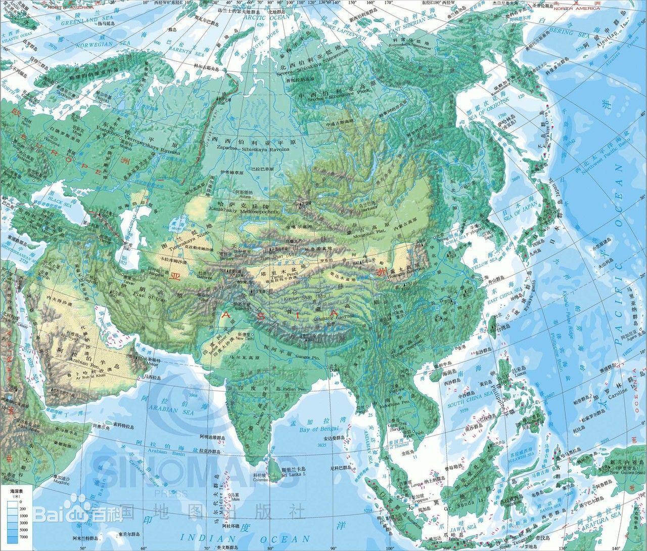 亚洲地形地图